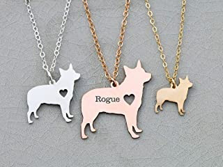 Blue Heeler Dog Necklace - IBD - Australian Cattle - Personalize Name Date - Pendant Size Options - 935 Sterling Silver 14K Rose Gold Filled