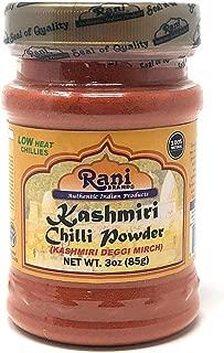 Rani Kashmiri Chilli Powder (Deggi Mirch, Low Heat) Ground Indian Spice 3oz (85g) PET Jar ~ All Natural, Salt-Free | Vegan | No Colors | Gluten Free Ingredients | NON-GMO | Indian Origin