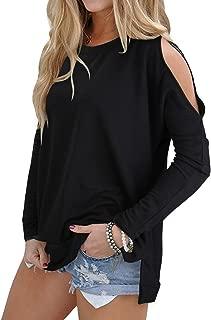 Women's Cutout Cold Shoulder Long Sleeve T-Shirt Tunic Tops