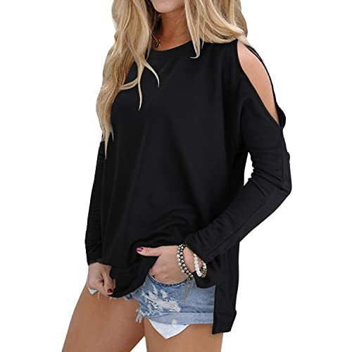 fb82f817f76db OUGES Women s Cutout Cold Shoulder Long Sleeve T-Shirt Tunic Tops