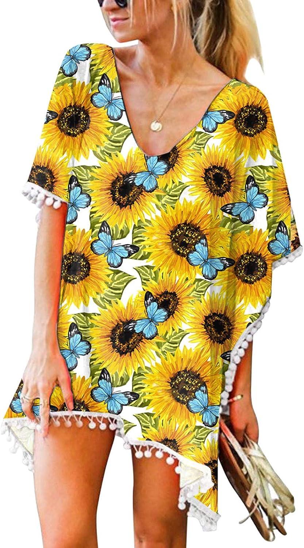 Kcocoo Women's Swimsuit Beach Cover up Sexy Bikini Tunic Top Dress Beachwear Bathing Suit Cover ups Sunflower Summer Swimwear