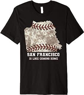 San Francisco Map Baseball Ball Distressed Texture Premium T-Shirt