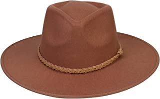 Jixin4you Men Women's Wide Brim Felt Fedora Panama Hat Warm Jazz Cap Winter Hat - 58-60 Adjustable