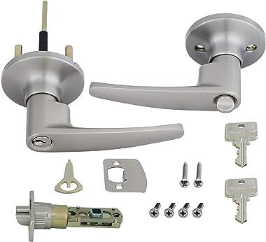 Honeywell Safes & Door Locks 8104301 Honeywell Locking Door Lever, Satin Nickel