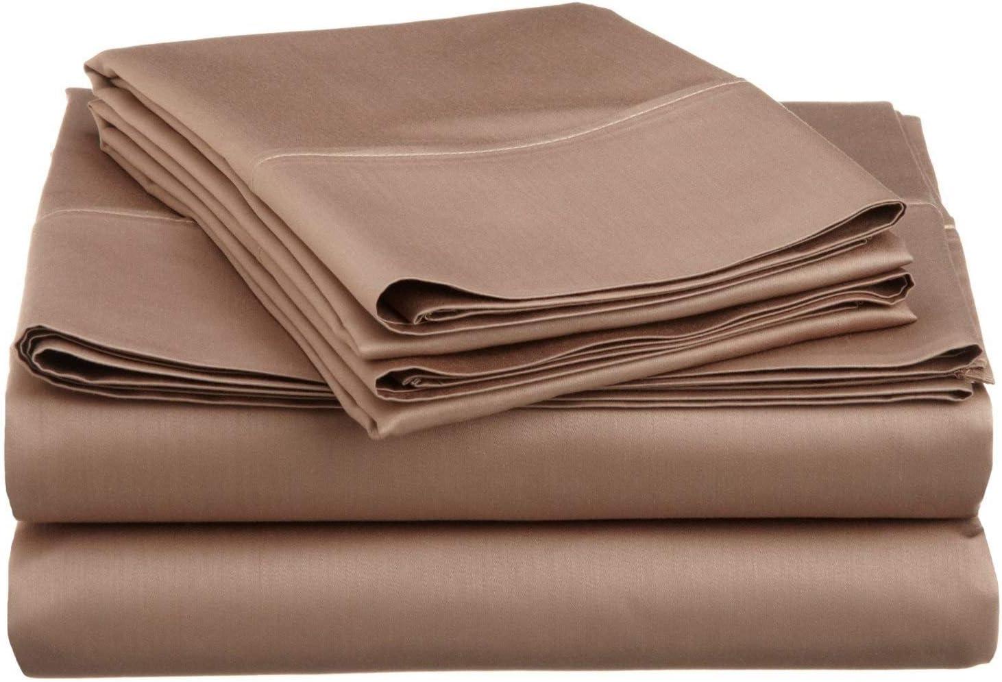 限定価格セール Cotton Bed Sheets-800 Thread Count-4Pcs Taupe Soli 送料無料 Set Sheet