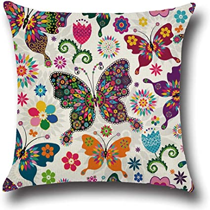 Gemini Mall 18 X 18 Cushion Covers Colorful Butterfly Throw Pillow Case Square Cushion Cover Home Decor 3 Amazon Co Uk Kitchen Home
