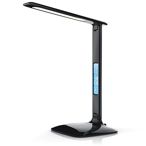 Brandson LED Lampe de Table dimmable Haute Puissance à Calendrier   Lampe de Bureau/lumière de Table   Calendar Desk Lamp   3 Couleurs de lumière   Fonction de températures, d'alarme et de Calendrier