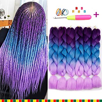 Amazon Com 6 Pcs Ombre Braiding Hair Synthetic Hair Crochet Braids 100g Kanekalon Fiber 24inch Jumbo Braids Hair Extensions Purple To Blue To Pink Beauty