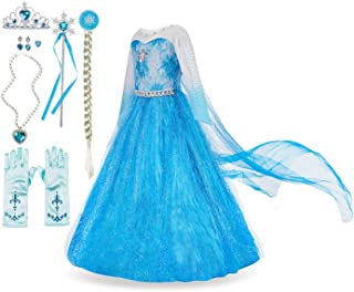 Elsa Costume for Girls Princess Dress Up Frozen Costume Cosplay Fancy Party