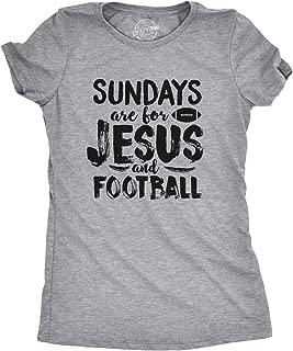 Womens Sundays Jesus and Football Funny Sports Athlete Religion T Shirt