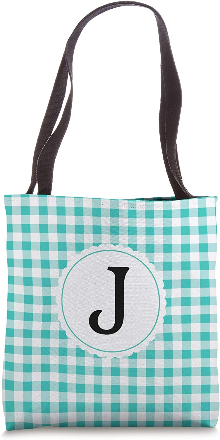 Letter J Initial Turquoise Green & White Gingham Check Plaid Tote Bag