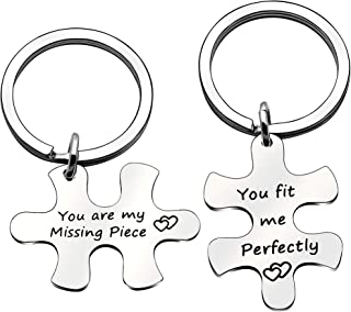 Lover Gifts Puzzle Piece Keychains Keyring Puzzle Jewelry Couple Gift You are My Missing Piece,You Fit Me Perfectly