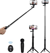 Alfort Selfie Stick Tripod, Extendable Selfie Stick with Clamp Wireless Bluetooth Remote Tripod Stand for iOS & Android Devices iPhone 11 Pro/X/Huawei P20/Mate 10 Samsung S7 Edge GoPro Camera