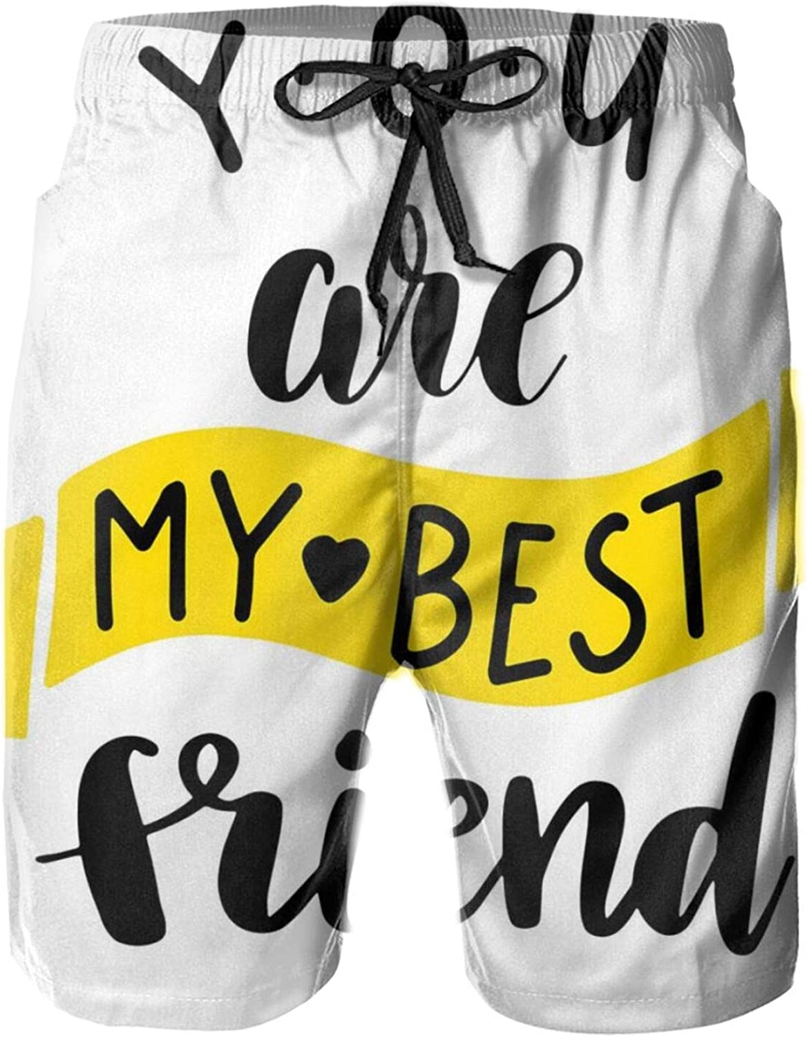 Monochrome You are My Best Friend Lettering On Plain Background Swimming Trunks for Men Beach Shorts Casual Style,XL