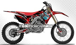 Kungfu Graphics Custom Decal Kit for Honda CRF250R 2014 2015 2016 2017, Red Black, Style 007
