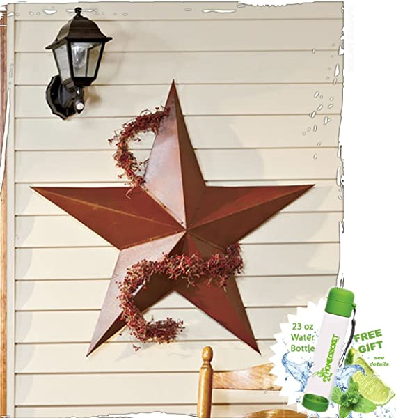 Gift Included 36 Rustic Dimensional Barn Star Garden Accent Display Dome Decor Free Bonus 23 Oz Water Bottle ByHomecricket