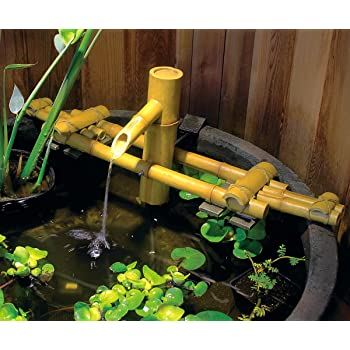 Amazon Com Aquascape 78308 Poly Resin Adjustable Pouring Bamboo Fountain Extends From 18 To 30 Inches Long To Fit Precisely In Just About Any Size Container Garden Measures 15 Inches High Yellow Garden Outdoor