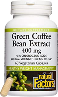Natural Factors, Green Coffee Bean Extract 400 mg, Supports Healthy Weight Management, 60 capsules (60 servings)