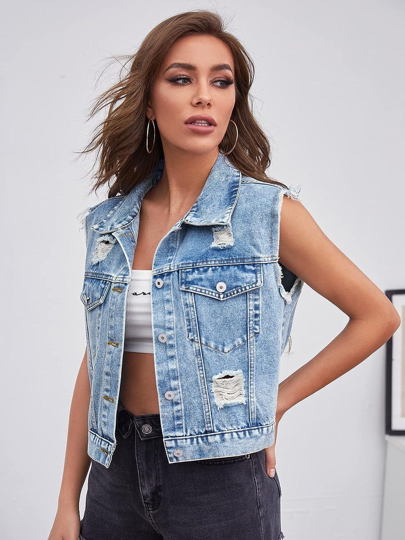 MakeMeChic Women's Ripped Distressed Button Front Sleeveless Denim Jacket Vest Crop Top