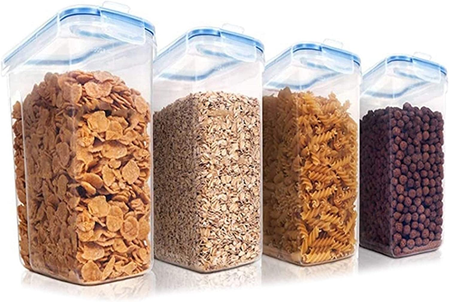 4 Piece Los Angeles Mall Set Cereal New sales Plast Container Storage Dispensers