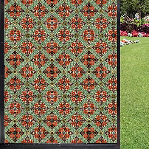 Talavera - Película para ventana 3D, diseño geométrico, caótico y remolino, diseño tradicional de azulejos ilustración de vidrio, flor de privacidad, adhesivo estático, multicolor 60 x 90 cm