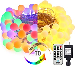 LED Christmas Lights, 120 LED 2 in 1 Color Changing LED String Lights, 39.37ft, 9 Modes, Timer, Warm White & Multi-color Indoor Fairy Lights for Home, Bedroom, Party, Wedding, Christmas Decorations