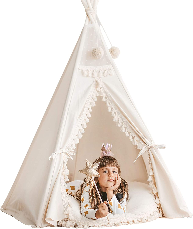 Boho Estilo Teepee para Niños - Tienda De Teepee Decorada con Tassels y Pom Poms