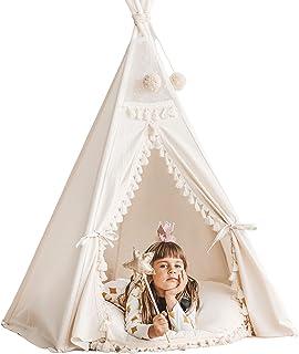 Boho stil barntips, tipi-tält för barn, tipi-tält, lek tält beige färg lekstuga 100 % handgjord!