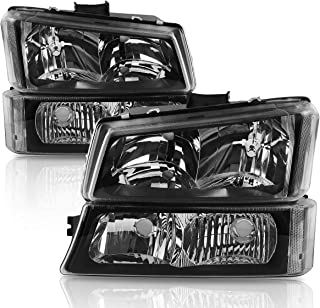 Headlights Assembly for 2003-2006 Chevy Avalanche / 2003-2007 Chevrolet Silverado 1500 2500 3500 1500HD 2500HD Pickup Headlamp