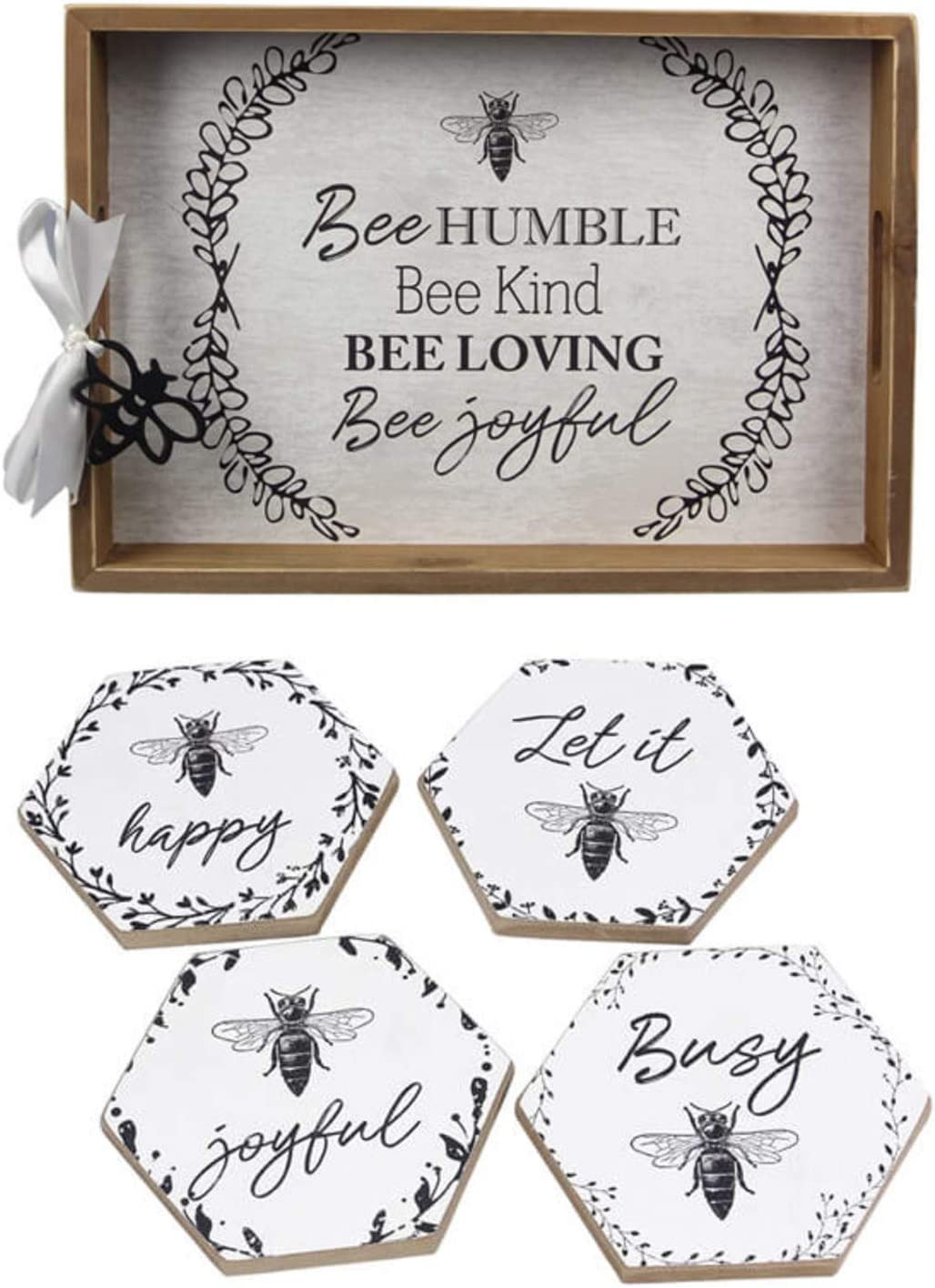 Honey Inventory cleanup selling sale Free Shipping New Bee Home Decor Serving Tray Set Coasters and Drink Wit
