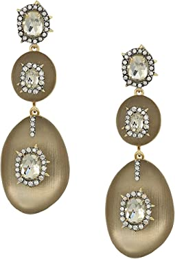 Triple Lucite Drop Post Earrings w/ Crystal Bezel Detail