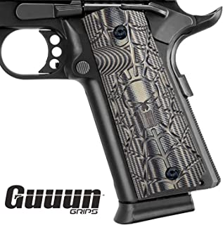 Guuun 1911 Grips Full Size Commander Government Pistol Grips, Custom Cobweb Skull Texture G10 Material Ambi Safety Cut Gun Grip