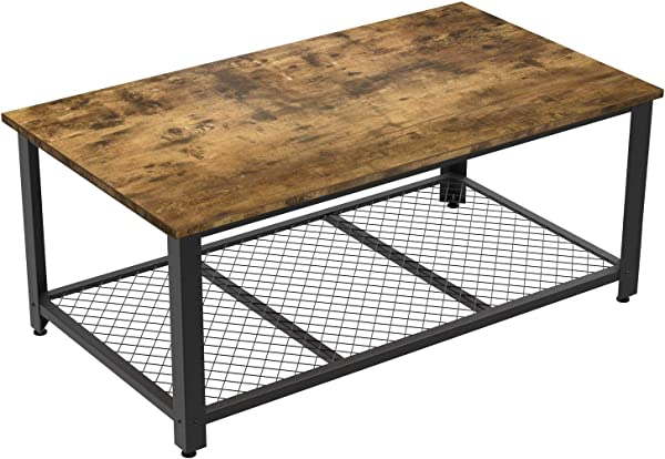 IRONCK Industrial Coffee Table For Living Room Tea Table With Storage Shelf Wood Look Accent Furniture With Metal Frame Rustic Home Decor Vintage Brown
