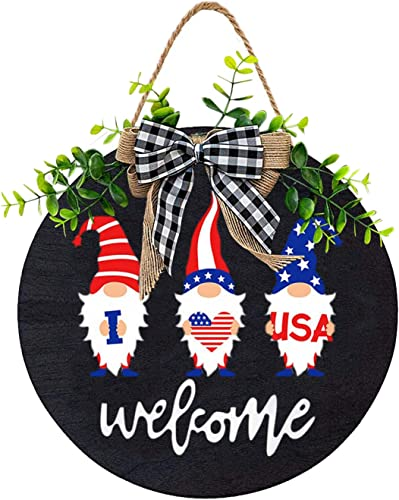 """wholesale Independence Day Wreath Welcome Sign Front Door Hanging Hello Sign Decoration outlet sale discount Housewarming Sign with Bow Gnome Painting Summer Welcome Wreath for Front Porch Restaurant Home Decor, 12"""" (Welcome, B) online"""
