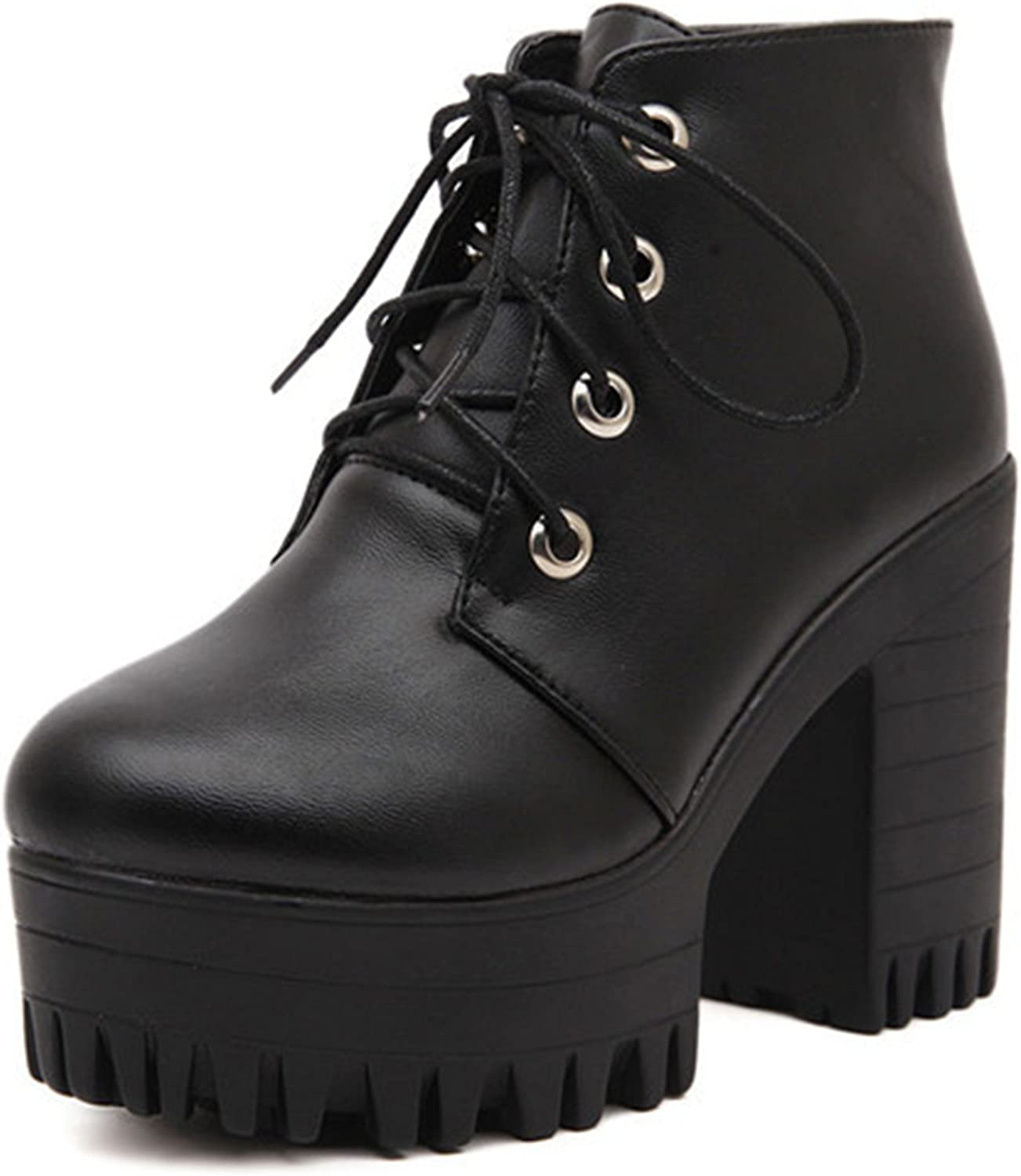 Spring Autumn Women shoes Black High Heels Boots Lacing Platform Ankle Boots Chunky