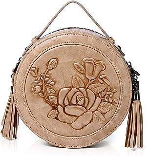 MEITRUE Runde Handtasche Damen Kreis Tasche PU Leder Elegante Frauen Crossbody Bag RetroTop Griff Schultertasche Schicke C...