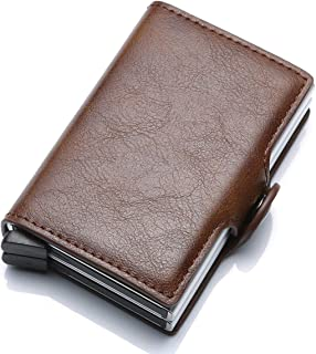 Munixi Credit Card Holder Leather Slim Wallet RFID Blocking Pop Up Aluminum Card Cas High Capacity Credit Cards Wallet (Brown (Double Box))