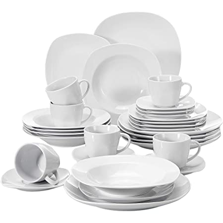 Malacasa Series Elisa 30 Piece Dinner Set Ivory White Porcelain Dinner Set With 6 Piece Cups 6 Piece Saucers 6 Piece Dessert Plates 6 Piece Soup Plates And 6 Piece Dinner Plates Service Set For 6 Amazon Co Uk Kitchen