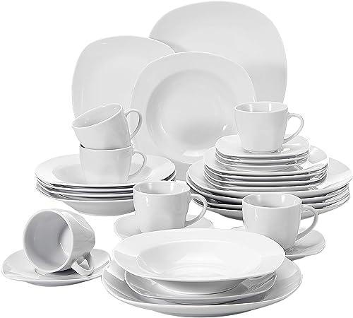 MALACASA Série Elisa, 30 Pcs Service de Table Porcelaine,Services Complets à Dinner, 6 Pcs * [Assiette Plat][Assiette...