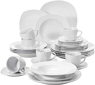 MALACASA Série Elisa, 30 Pcs Service de Table Porcelaine,Services Complets à Dinner, 6 Pcs * [Assiette Plat][Assiette Creu...