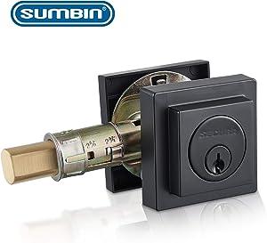 Sumbin Contemporary Square Deadbolt Door Lock, Single Cylinder, Oil Rubbed Bronze