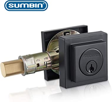 Sumbin Contemporary Square Deadbolt Door Lock, Single Cylinder, Oil Rubbed Bronze
