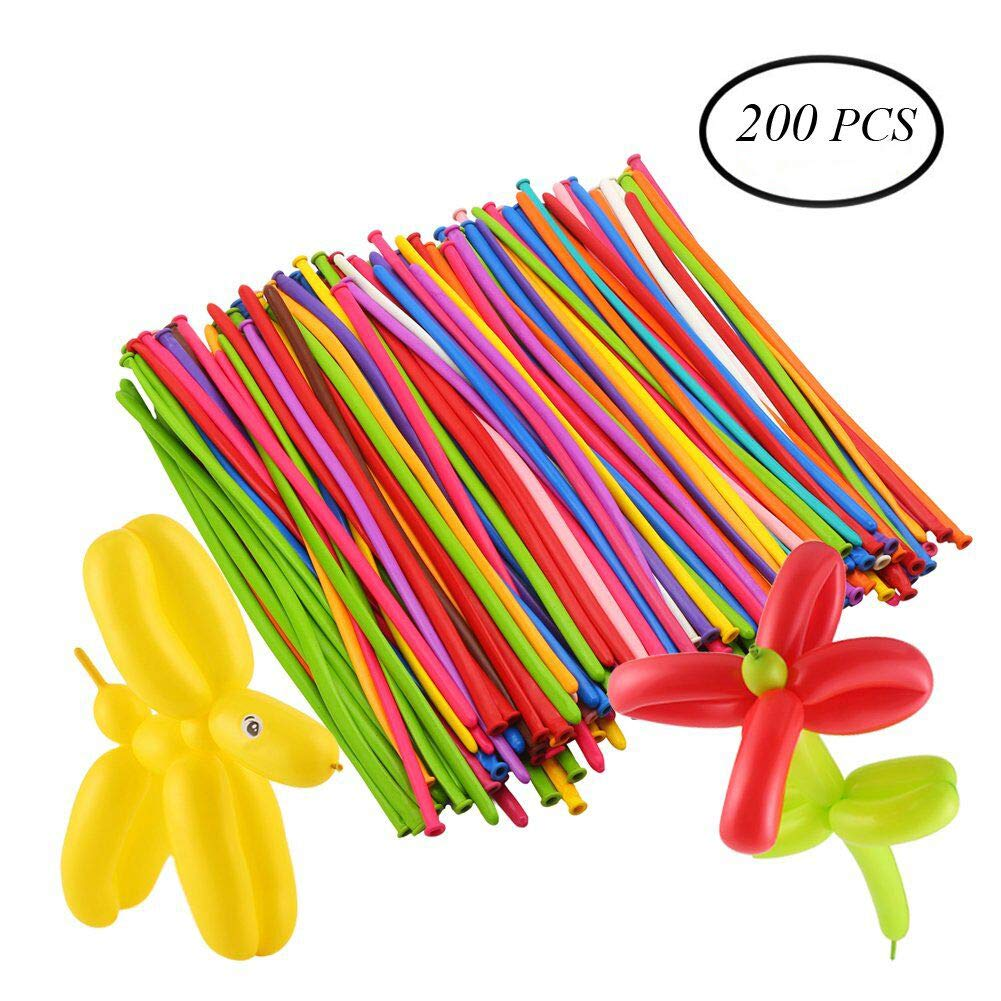 DECORA 200pcs Mix Color Twist Halloween Balloons for Wedding Birthday Easter Party Decoration Magic Ballons Assorted Latex