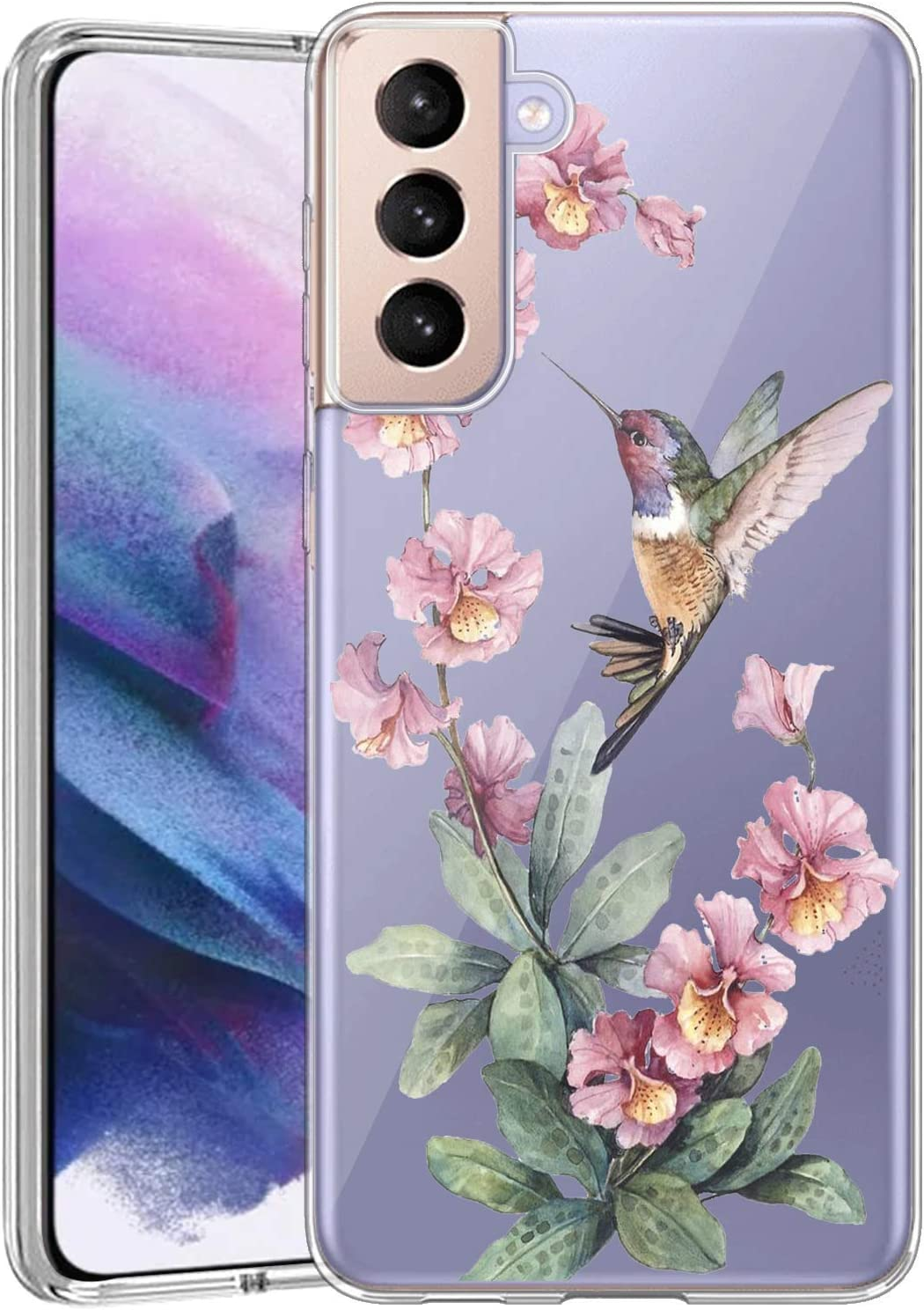Case for Samsung Galaxy S21 5G Clear Phone Case Customized Hummingbird for Girls Women Transparent Anti-Scratch Shockproof Slim Flexible TPU Bumper Protective Cover Case for Samsung Galaxy S21 5G