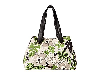 Frances Valentine Selma Merida Print on Canvas Double Handle Shoulder Bag (Natural Green Multi) Handbags