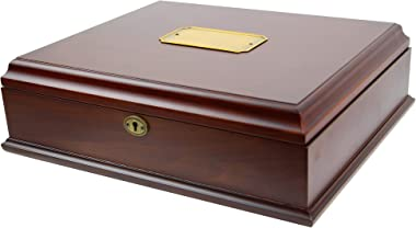 Decorebay Antico Wooden Lockable Memory and Treasure Box for Keepsakes, Photos, Letters, Jewelry and More