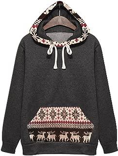 Christmas Eve Fair Isle Reindeer Snowflake Printed Thick Warm Full Lined Hooded Hood Hoodie Cotton Sweatshirt Top