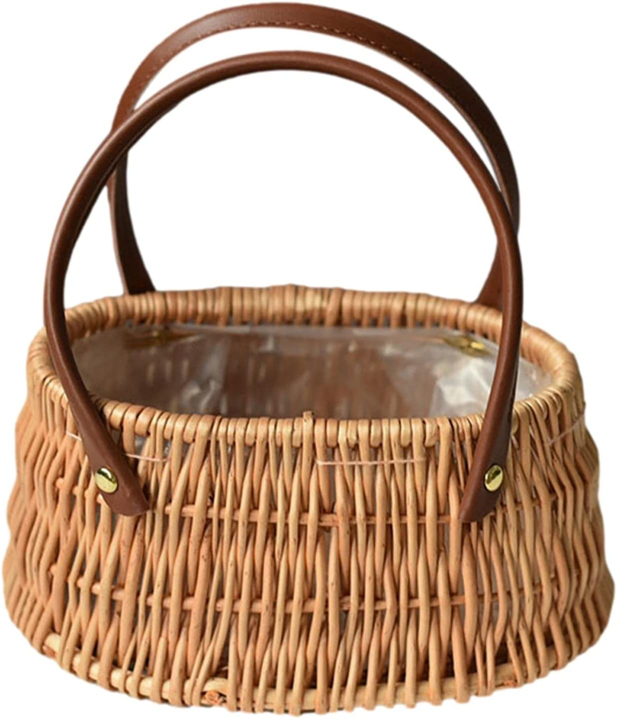 P Tulsa Mall A Wicker Picnic Basket with Handles Double Folding Sale SALE% OFF Willow Han