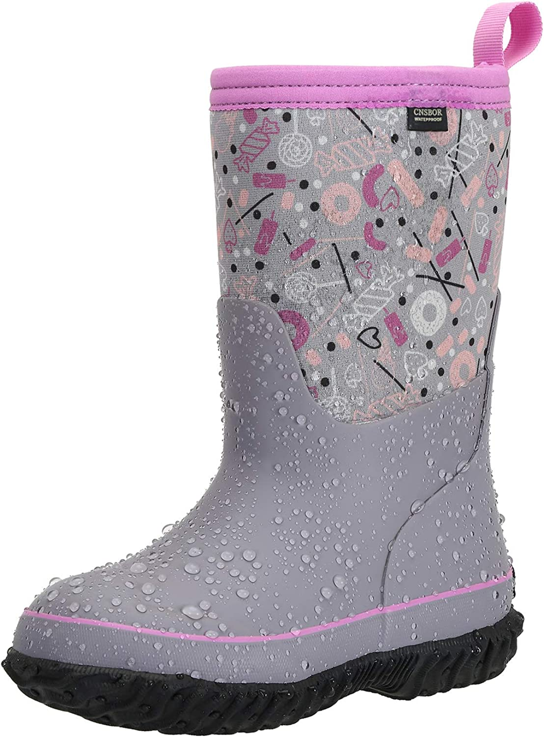 CNSBOR Kids Waterproof Insulated Rubber Neoprene with Rain Boots Max 63% OFF Limited time cheap sale