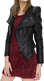 Women's Cool Stylish Studded Oblique Zip Perfect Shaping Body Pu Leather Biker Jacket